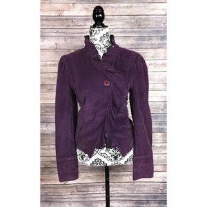 Anthropologie Lux jacket purple ruffles medium